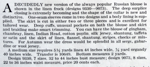 Description of Butterick 9330 and 9073, Aug. 1917. Delineator.