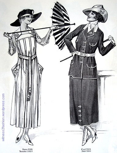 Butterick dress 9326; coat 9324 with skirt 9309. Delineator, Aug. 1917.