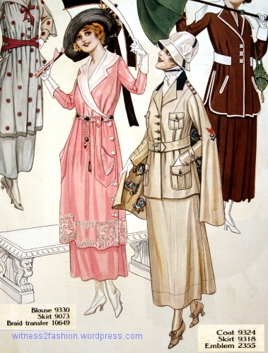 Left, blouse 9330 with skirt 9073; right, coat 9324 with skirt 9318. Butterick patterns, Delineator,Aug. 1917.