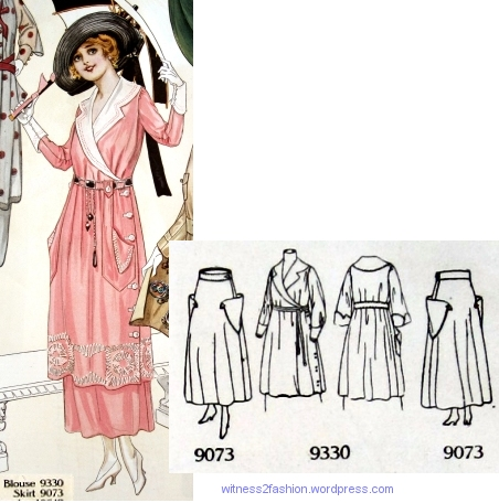 Blouse 9330 with skirt 9073, Butterick patterns in Delineator, Aug. 1917.