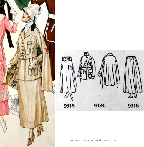 Coat pattern 9324 with skirt 9318, Butterick patterns in Delineator, Aug. 1917.
