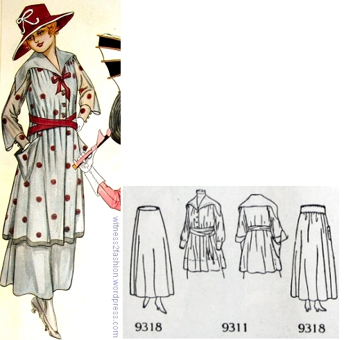 Blouse pattern NO. 9311 with skirt pattern No. 9318. Butterick's Delineator, August 1917.