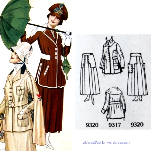 Butterick patterns 9317 and 9320, Delineator, Aug. 1917.
