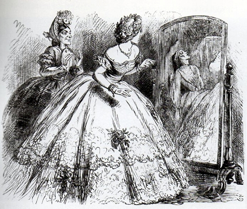 The ghost ini the Looking Glass, cartoon by John Tenniel, Punch magazine, 1863. From Victorian Working Women