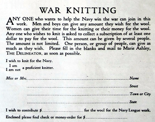 Knitting for Soldiers, Delineator, Aug. 1917. p. 41
