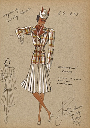 Andre Studio Collection: Reefer Coat design by Pearl Levy Alexander, 1939. Copywight New Your Public Library.