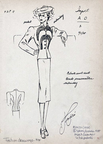 Andre Studio sketch of an original Schiaparelli Suit, with a note about the embroidery. Copyright New York Public Library.