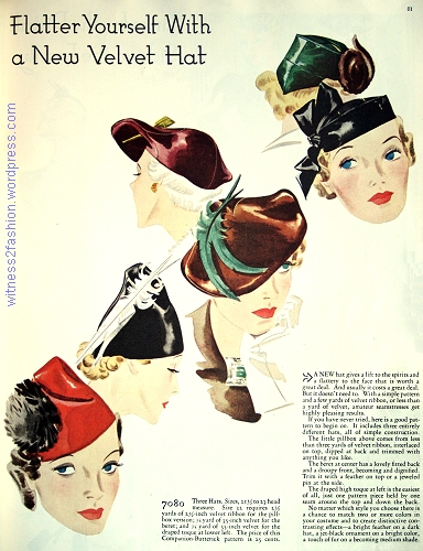 Companion Butterick hat pattern 7080. WHC, Nov. 1936.