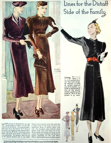 "Companion Butterick pattern 7079, a ""triad"" pattern in three versions for three different ages. Woman's Home Companion, November 1936, p. 82."