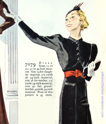 """7079 Dress. Sizes 12 to 20; 30 to 44 [inch] bust measure."" Companion Butterick, Nov. 1936."