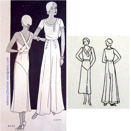 "Sports dress No. 4275 and Sailor 'Pyjamas"" No. 4268. Butterick patterns, Delineator, January 1932, p. 54."