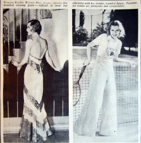 """Evelyn Knapp, Warner Bros. Player, chooses this evening gown.... Pajamas for tennis are attractive and comfortable."" Ad, Delineator, June 1932."