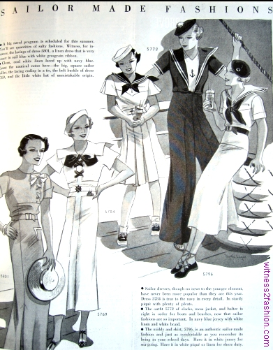 """Sailor Fashions"" in Delineator, July 1934, p. 57."