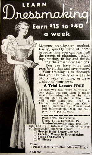 Woman's Institute ad, 1933. The style chosen for this dressmaking class ad is a Letty Lynton variation.