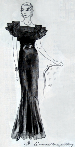 A black satin dress with huge, ruffled shoulders. Butterick 5581, from March 1934.