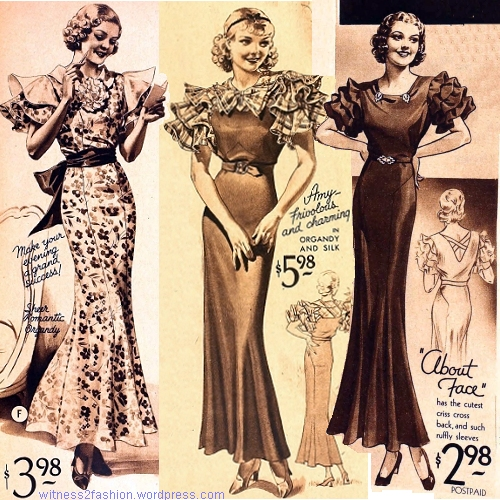 "Three ""Letty Lynton"" style dresses; from Sears catalogs, 1933 and 1934."