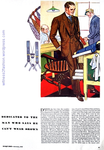 A typical page of men's fashions from the first issue of Esquire magazine, Autumn 1933.
