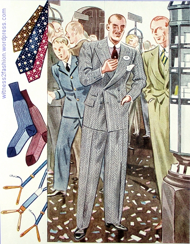 Gray double-breasted herringbone suit,without cuffs and with a ticket pocket. Esquire, Autumn 1933, p. 93.