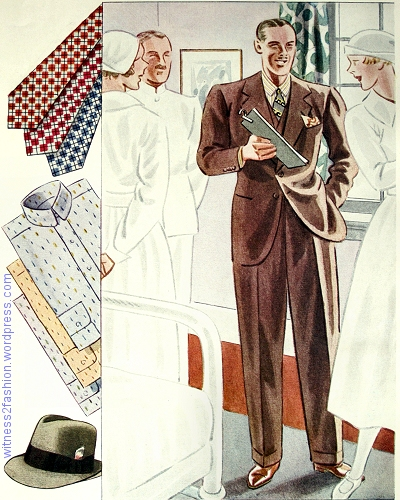 A doctor wears a rough brown wool suit for a more informal appearance. Esquire, Autumn 1933, p. 87.