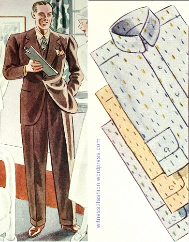 "Two-button suit with matching vest, high-waisted trousers with cuffs, and ""clipped figure"" shirts. Esquire, Autumn 1933."