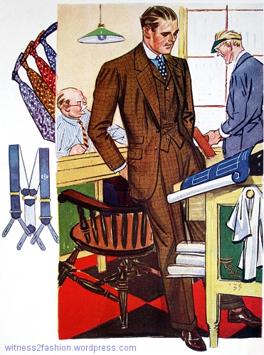 Brown worsted checked 3-pc suit, blue shirt with white collar and cuffs, polka dotted or printed satin tie. Esquire, Autumn 1933, p. 81.