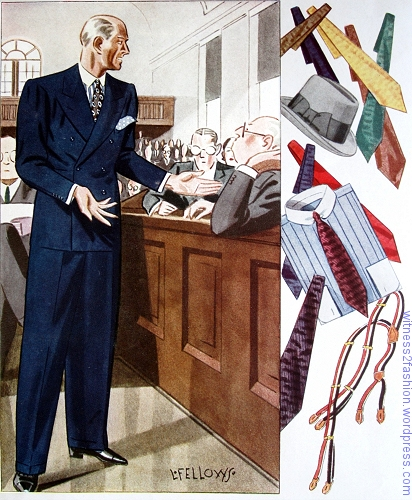 Navy double-breasted suit and accessories, Esquire, Fall 1933, p. 82.