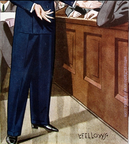 Cuffed tapered trousers, 1933. Illustrations are by L. Fellows.