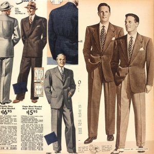 Men's suits from Sears, Spring 1938 and 1948.