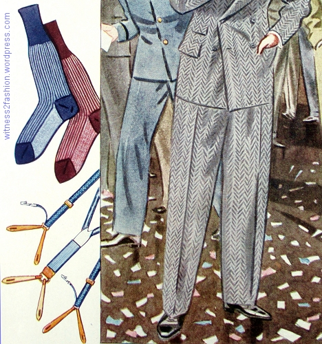 "Trousers without cuffs (or ""turn-ups"") worn with striped socks and suspenders (""braces"") with clips to attach to your shirt."