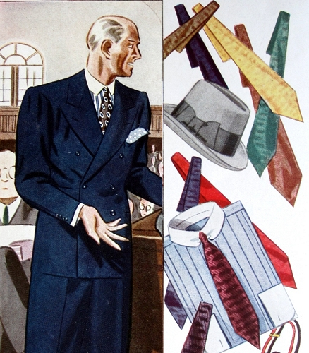 "For wear with the navy suit, ""self-figured"" ties, gray Homburg hat, and a blue shirt with white pique collar and collar pin. Esquire, Autumn 1933."