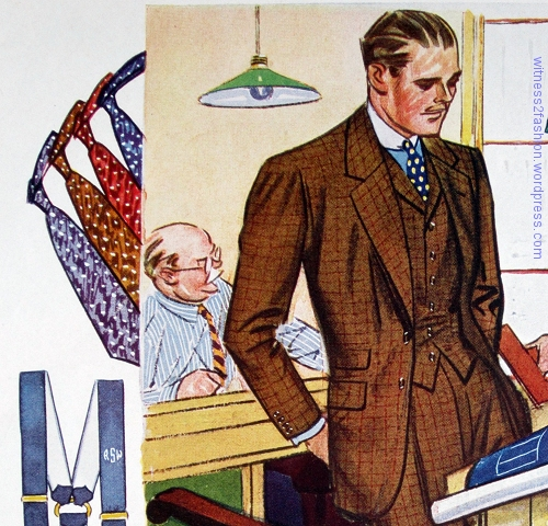 Two button suit with matching collared vest; worn with blue shirt, white collar, and a selection of ties. Autumn 1933.