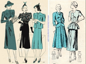 Women's suit patterns, 1938 and 1948. The silhouette is very different.