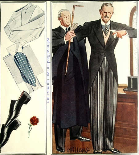 "The ""morning coat"", or ""cutaway"" is the most formal daytime outfit for men. ""Morning coat"" refers to the entire outfit, which includes striped trousers and a vest, etc. Esquire magazine, April, 1934, p. 126."