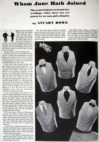 Wedding Etiquette and Dress Article by Sturart Howe, Esquire, June 1934.