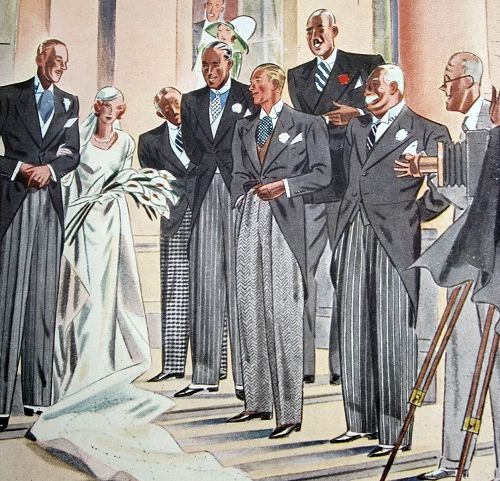 Illustration accompanying Esquire's June article on clothes for a formal wedding, p. 139.