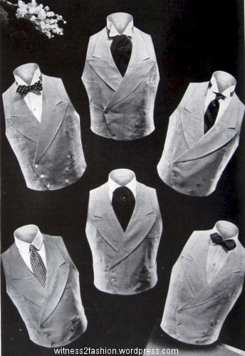 Waistcoats/vests to wear to a wedding with your cutaway or morning coat. Esquire, June 1934. p. 138.