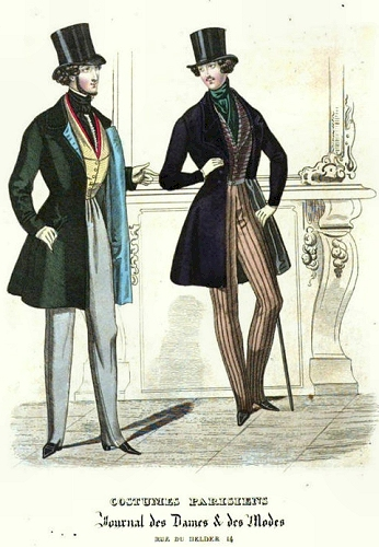 Frock coats, 1828, Journal des Dames. Thanks to TwoNerdyHistoryGirls for finding this plate.