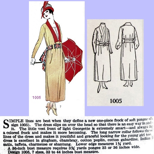 Butterick 1005, July 1918. Delineator, p. 52.