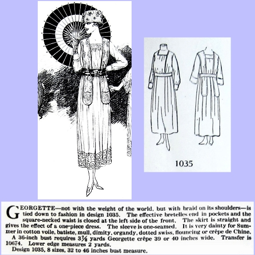 Butterick 1035, July 1918. Delineator, p. 52.