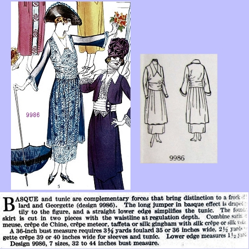 Left, Butterick 9986, July 1918. Delineator, p. 52.