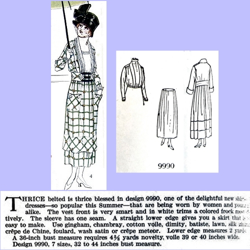 Butterick 9990, July 1918. Delineator, p. 52.