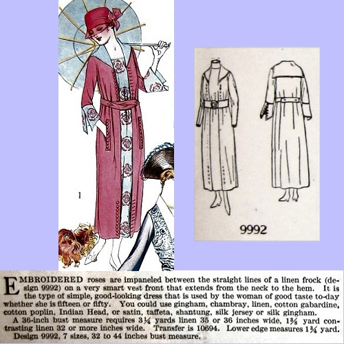 Butterick 9992, July 1918. Delineator, p. 52.