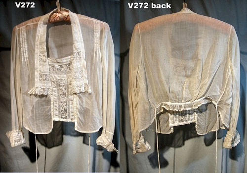 "This vintage ""Armistice blouse"" is much shorter in back than in front."