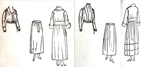 Skirts, blouses and dresses, from July 1918 show the oddly high waist in back.