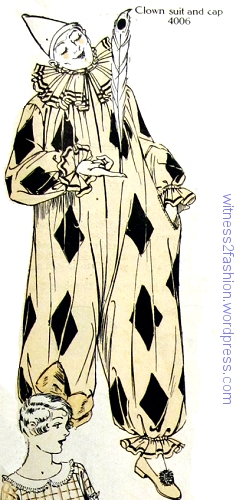 Butterick pattern 4006, clown costume, Delineator, October 1925.