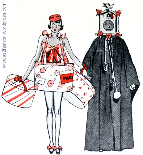 Suggested costumes made from hatboxes and a graduation gown. 1936.