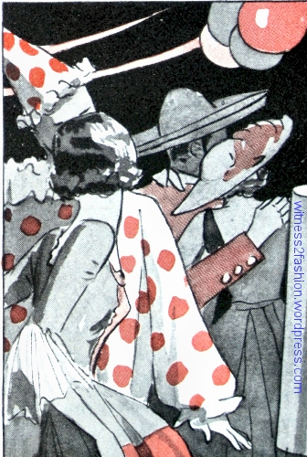 "A clown costume and a ""Colonial Lady"" costume. These patterns could be purchased from Butterick or other companies. In the background a man wears a sombrero -- perhaps he is a gaucho."
