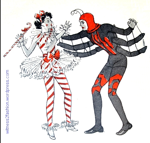 A candy cane is menaced by a spider. Suggested party costumes, 1936.