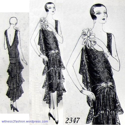 Starched lace stands away from the body in Butterick formal evening dress No. 2347. December 1928.