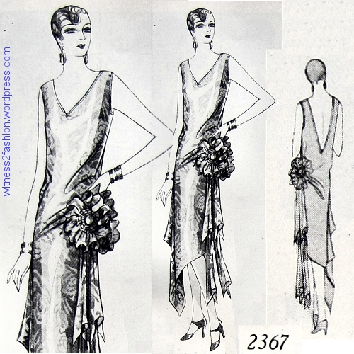 Butterick evening gown 2367 from December 1928. Delineator.